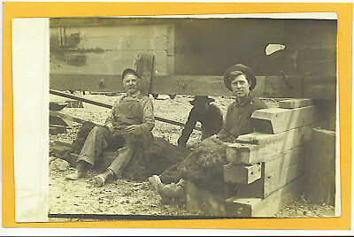 Real Photo Postcard Rppc Men Raising House   Moving