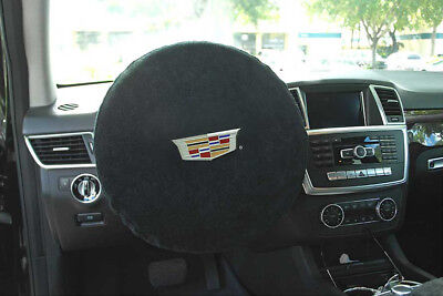 Seat Armour -Black Steering Wheel Cover w/ Cadillac Embroidery SWA100CADB