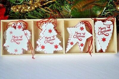 istmas tree decorations 12 white stars hearts angels (A) (Clearance Christmas Tree)
