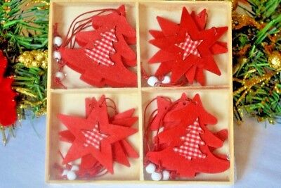 SALE - star and tree Christmas tree decorations, red (G) (Clearance Christmas Tree)
