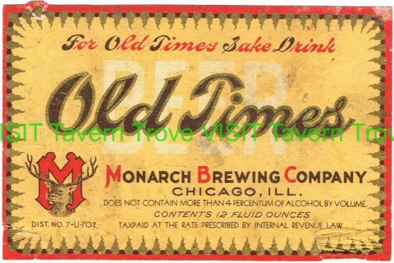Rare 1930s Old Timers Beer U-Permit label Tavern Trove 12oz Monarch Chicago