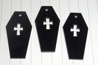 Halloween Spooky Evil Coffin Cat charms pendants x 3 kitsch Craft DIY Pumpkin - Diy Coffin Halloween