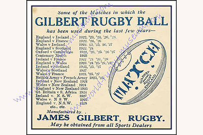 Gilbert Ball Advertisement 1928 Modern Reproduction Rugby Poster size A2