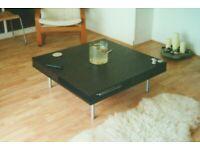 Ikea Coffee Table 2 Drawers Black-Brown Finish 95cm sq Metal Legs