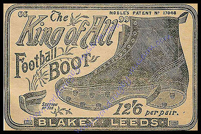 'King of All Football Boot' advertisement 1896 Modern Reproduction Rugby Poster