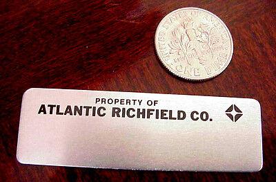 "PROPERTY ATLANTIC RICHFIELD OIL CO ARCO GASOLINE 2"" x 5/8"" ALUMINUM MINI EMBLEM"