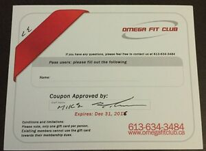4 $100 gift cards for Omega Fit Club in Kingston's West End  Kingston Kingston Area image 2