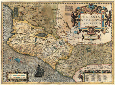 Map of Mexico and Central America c1606 repro