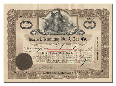 Barrick Kentucky Oil & Gas Co. Stock Certificate