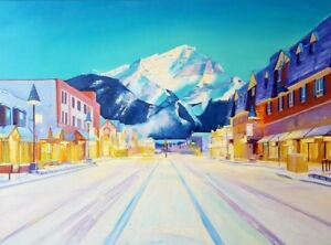 "46″ x 34″ Original Oil Painting ""Banff City"""
