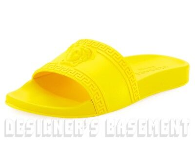 VERSACE mens 43EU 10US yellow PALAZZO Medusa slides FLIP-FLOP sandals NIB Authen