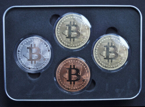 Bitcoin 4 Pcs/ set Coins (Collectible) Gold-Silver-Copper-Bronze  Fast Shipping