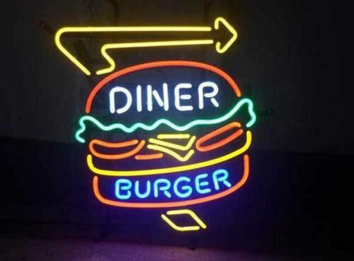 "New Diner Burger Neon Sign 20""x16"" Artwork Glass Wall Poster Display Windows"