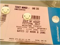 One weekend ticket for Isle of Wight festival 2017