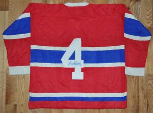 Jean Beliveau - Chandail Canadiens de Montréal Rouge laine Signé
