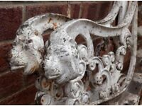 Pair Of Old White Cast Iron Bench Ends With Lion Head Terminals