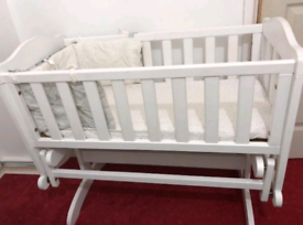 Mini baby crib with mattress
