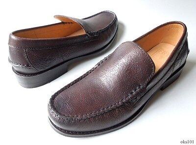 NIB mens FRYE Douglas Venetian Hammered dark brown leather loafers shoes -