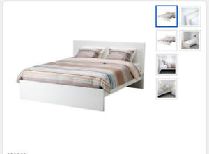 IKEA MALM BED WITH FREE MATTRESS AND LACK ON URGENT SALE