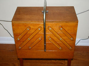 Vintage Wood Fold Out Sewing Basket Chest Wooden Accordion