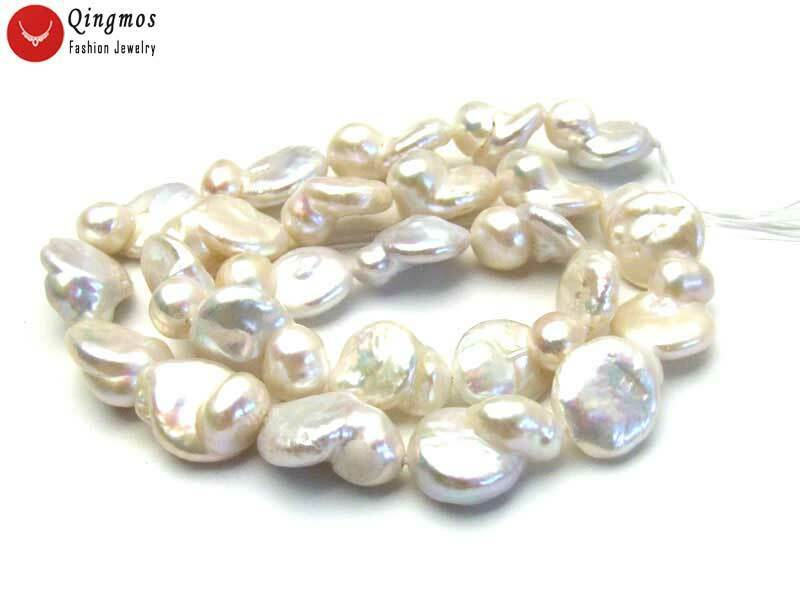 """13*18mm Baroque Natural FW White Pearl Loose Beads for Jewelry Making Strand 14"""""""