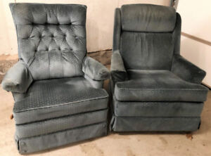 1 recliner Chair and 1 Swivel/rocker Chair