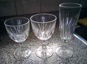 Glass set for dining (12 each of flute, wine and water)