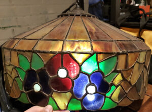 Vintage stained glass chandelier from Italian Pizzeria