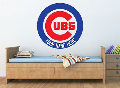 CHICAGO CUBS Logo Wall Decal w/ Your Name or Original Wording Home Decor Sticker - Chicago Decorations