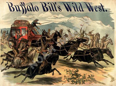 Buffalo Bills Wild West Caravan Indians vintage circus poster repro 12x16