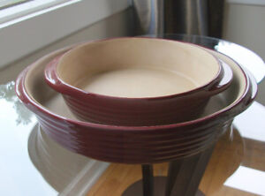 Pampered Chef Stoneware Med & Mini-Baker Bakers Cranberry