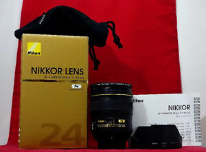 Nikon 24mm f1.4 G w Hoya Pro Filter, Box, Hood and Pouch