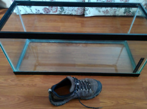 Glass tank for sale - Exact size unknown (shoe for scale)
