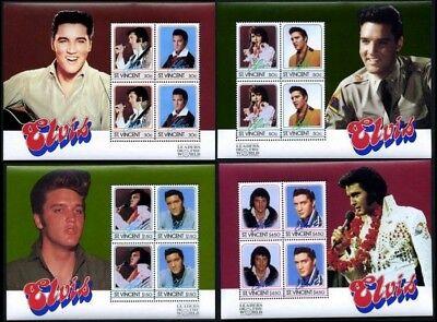 Elvis Presley  4 Blockausgaben minisheets , Block St. Vincent ** postfrisch
