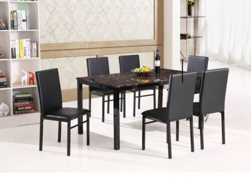 Faux Marble & Leather Seats Dining Table & 6 Chairs Set Dining Room Furniture