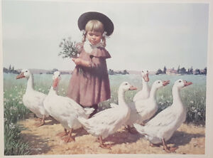 Framed picture, girl with geese