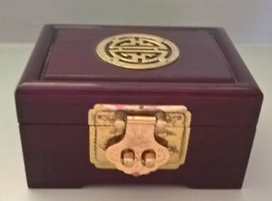 Vintage Asian Chinese Oriental Rosewood Jewelry Box