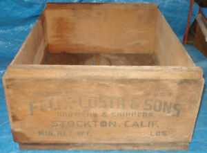 BH176 Vtg Felix Costa & Sons Grape Fruit Wood Wooden Crate Box