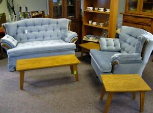 Blue loveseat and swivel rocking chair
