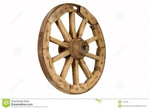 """Wanted:  1 old wooden wheel approx 36"""" tall for display"""