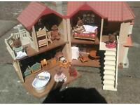 Sylvanian Families house with rabbit family