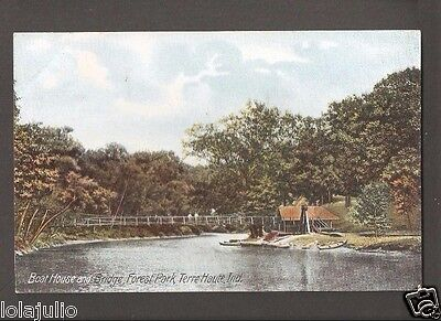 Vtg Postcard Boat House and Bond Forest Park Terre Haute Ind Indiana Early IN