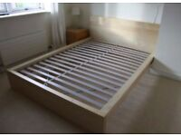 Double wooden bed, Ikea, excellent condition, nearly new