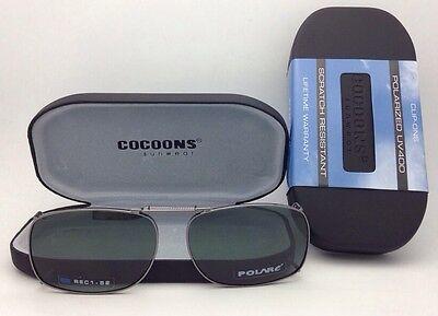 COCOONS Grey Polarized Sunglasses/Eyeglasses Over Rx Clip-on REC 1-52 Gunmetal