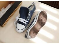 Converse style leather look deck shoes, brand new. Size 6.5.