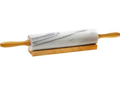 Mattarello in Marmo Eva base Legno per Pasta Sfoglia Rullo L. 26 ø 6 Cm - Rotex