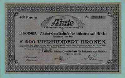 Aktien Gesellschaft HAMMER für Industrie und Handel 1923 Braunau Inn Österreich