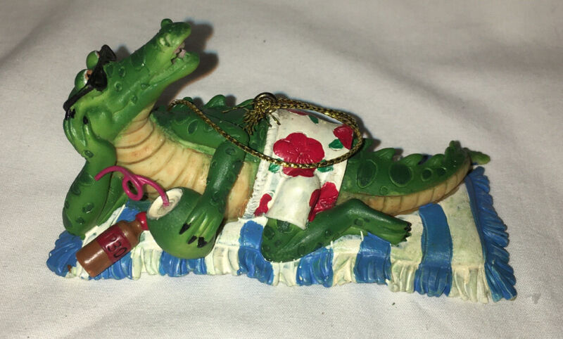 ALLIGATOR Lounging Beach Chilling Tourist Christmas Ornament