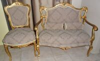 Louis 14th style Antique Settee & 2 Side Chairs with Gold Leaf
