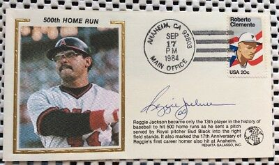 Hof Reggie Jackson Signed Autograph Cachet Cover Envelope Yankees 500 Home Runs